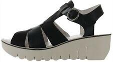 FLY London Leather Wedge Sandals Yuni Black EU40(US 9-9.5) # A304939