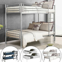 Metal Bunk Beds Frame Twin Over Twin Size Ladder Kid Teen Adults Split 2 Beds