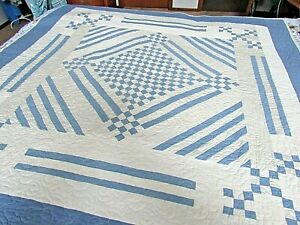 Vintage Handmade Blue & White Quilt   Unused