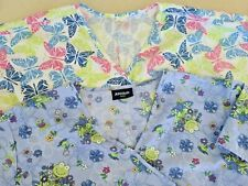 Two Pair of Scrub Tops Women's Size 3X - Frog & Butterflies Themes - Gently Used