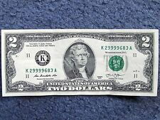TWO DOLLAR FEDERAL RESERVE NOTE WITH A CRAZY FOUR-OF-A-KIND SERIAL NUMBER!