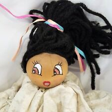 "Vintage Spool Doll Brown Face Black Yarn Hair Beige Dress Shelf Sitter Wood 11"""