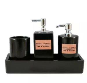 Doll House Accessories 1:12th Miniature - 1 x 4 Piece Black Bathroom Set