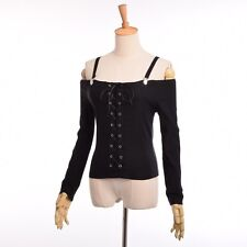 Lady Sexy Off Shoudler Blouse Black Goth Punk Visual Kei Long Sleeves Crop Tops