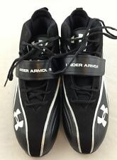 NEW UNDER ARMOUR MENS SHOE  FOOTBALL CLEAT 14 BLACK WHITE SILVER HEATGEAR