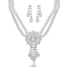 Evening Dress Wedding Party White Pearl Necklace Earrings Charm Jewellery Set