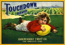 Los Angeles Touchdown Football Lemon Citrus Fruit Crate Label Art Print