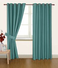 BLUE FAUX SILK 90X90 THERMAL LINED BLACKOUT HEAVYWEIGHT RING TOP CURTAINS
