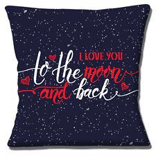 I Love you to the Moon & Indietro Copricuscino 16 pollici 40 cm Blu Navy Rosso Cuori Bianco