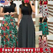 Womens Ladies Summer Floral Maxi Dress Evening Party Cocktail Boho Long Dresses