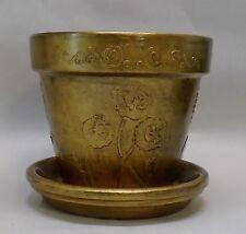 """Handmade Terra Cotta Flower Pot, Vintage, Floral Design, Gold with Black, 6"""""""