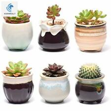 Set 6 Plant Pots for Succulents Small Ceramic Planters 2.5 Inch with Drainage