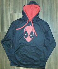 Marvel Deadpool Mask Graphic Black Pullover Hoodie Sz. L NWT