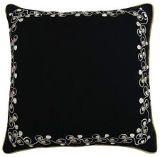 Black Floral Embroidered Cotton Pillow Cover Square Cushion Case Sofa Pillowcase
