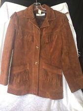 Vtg 70s Neiman Marcus BOHO Hippie Brown Leather Fringe Jacket Womens Medium EUC