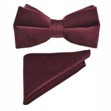 Luxury Burgundy Velvet Bow Tie & Pocket Square Set
