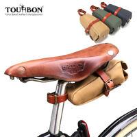 Tourbon Fahrrad Satteltasche Canvas Leder Fahrradtasche f/ Brooks Fahrrad Sattel
