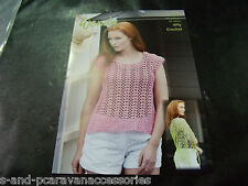 WENDY CROCHET TOP AND SHAWL PATTERN 5976 4 PLY COTTON