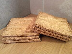 Set of 6 Square Woven Wicker Rattan Placemats - 18cm / 7 inch Square