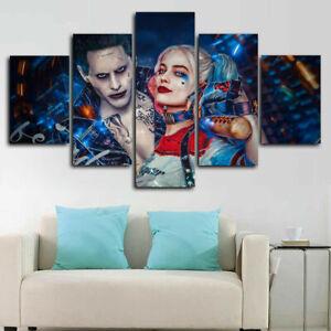 Joker & Harley Quinn Suicide Squad Movie Canvas Print Painting Wall Art Decor 5P