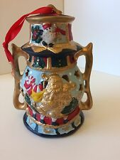 Ceramic Hanging Gold Father Xmas Traditional Lantern Style Tealight Holder