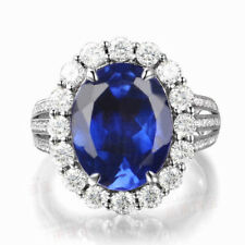 925 Sterling Silver 2.00 Carat Natural Blue Tanzanite Oval Shape Engagement Ring