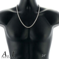 """Mens Curb Chain 20"""" - 26"""" 4MM 5MM 6MM 9MM Stainless Silver Plated Cuban Necklace"""
