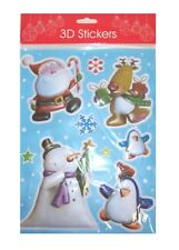 3d Christmas Bubble Stickers Santa Snowman Penguin Rudolph Snowflakes