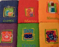 Estuche 6 paños de cocina semanario DOLZ rizo 100% algodón 50x50 motivos bordado