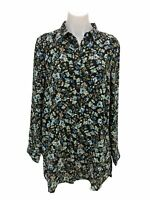 J. Jill Black Floral Button Front Long Sleeve Layered Tunic Top Women's Size M