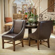Dining Room Furniture Brown Leather Dining Chairs w/ Nailhead Accent (Set of 2 )