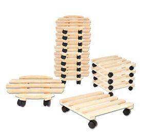 Pflanzenroller Holz 35cm Roll Untersetzer für Blumen Roller Rollbrett mit Rollen