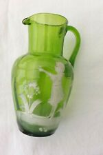 ANTIQUE MARY GREGORY HAND PAINTED GREEN GLASS JUG 14CMS HIGH GIRL AND BUTTERFLY