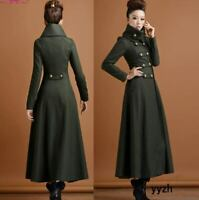 Military Womens Super Long Wool Blend Overcoats Slim Double-Breasted Coat Jacket