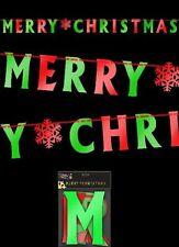 Joyeux Noël Feuille Bannière Lettre Rouge Vert Décoration pour Fête Noël Bruant