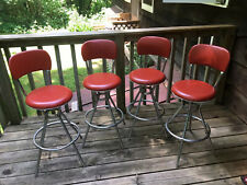 Cosco Set Of 4 Swivel Bar Stool Chairs Vtg Red