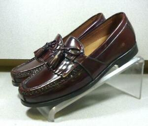 200588 MS50 Men's Shoes Size 9.5 M Burgundy Leather Loafers Johnston & Murphy