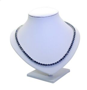 925 Sterling Silver Simulated Sapphire Riviera/tennis Necklace 23.5 Carats 4.5mm