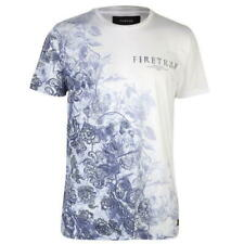 NEW Mens Hand Floral Sketch Skull Firetrap Graphic  T Shirt Crew Neck Size XL
