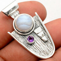 Blue Lace Agate and Amethyst 925 Sterling Silver Pendant Jewelry SDP62111