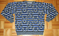 Jordache Sweater Vintage 90s Geometric Coogi Style Blue USA Made Hipster Large