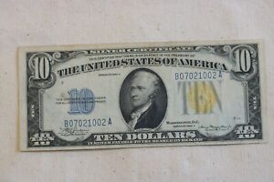 1934-A North Africa Yellow Seal $10 Silver Certificate! NO RESERVE!