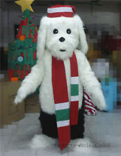 Long Fur White Dog Mascot Costume Suits Adults Fancy Dress Suit Unisex Party New