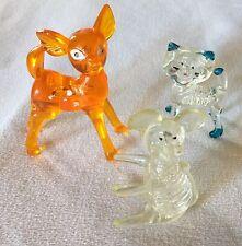 Vintage Clear Acrylic Plastic Mouse & Cat, Orange Bambi Deer Hong Kong