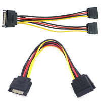 15 Pin SATA Male to 2x Sata Female Power Splitter Cable Y-Splitter 20 cm Adapter