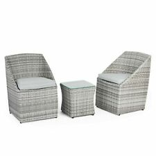 VonHaus 22118 Rattan Bistro 2 Chairs with Cushions and Coffee Table