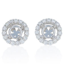 NEW Semi-Mount Halo Stud Earrings 14k Gold for 6.5-7mm w/Diamond Accents 1.00ctw