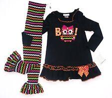NWT Bonnie Jean Girl Black Multicolor OWL Chevron Top Pants Sz. 6X 6