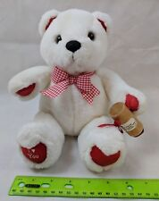 """Applause I Love You Teddy Bear White & Red Plush 11"""" w/ Valentine's Day Stamp"""