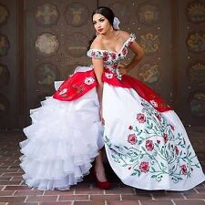 Cap-sleeve White Red Embroidery Ball Gown Quinceanera Dresses Long Prom Dresses
